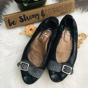 AGL Open Toe Black Flats Sz 40